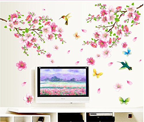 Oriental Floral Wallpaper (BIBITIME Pink 2 Branches Cherry Blossoms Trees Wall Decals Spring Flower Floral Walls Stickers Hummingbird Butterflies Decor Vinyl Rome Home Arts Murals,DIY Size: 43.31 47.24 IN)