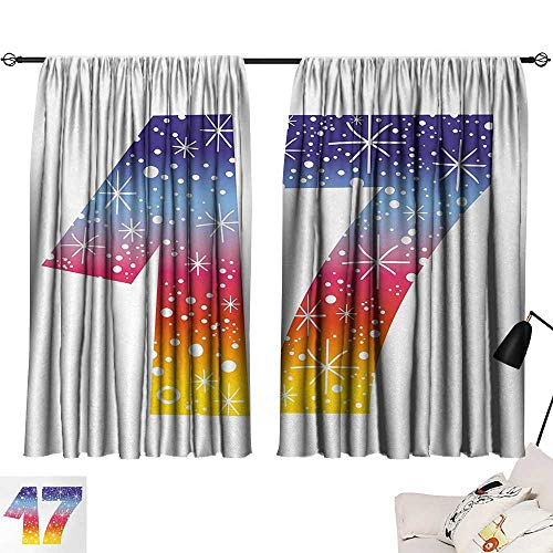 Jinguizi 17th Birthday Curtain Kitchen Window Rainbow Colored Seventeen Years Old Party with Fireworks Polka Dots Print Pattern Darkening Curtains Multicolor W55 x L39 by Jinguizi (Image #6)