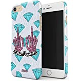 Glitbit Stay Creepy Stay Weird Diamond Patches Embroidered Emo Goth Punk Kawaii Grunge Middle Finger Bitch Thin Design Durable Hard Shell Plastic Protective Case For Apple iPhone 7 / 8