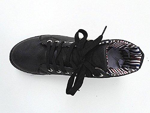 fashionfolie Baskets Montante Femme Lacet Mode Fille Y227 Noir JVQVdZem76