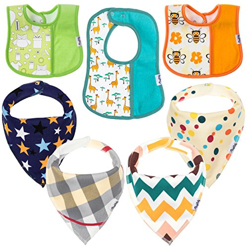 Baby Bandana Drool Bibs – 7 Pack Unisex Bundle for Teething and Drooling – Soft & Absorbent, Hypoallergenic,100% Organic Cotton – Newborn Shower Gift Set for Boys & Girls