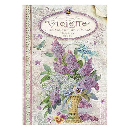 21 X 29.7 Cm Stamperia Papel de Arroz Violette Multicolor,