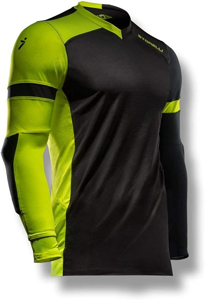 Storelli ExoShield Gladiator Goalkeeper Jersey | Padded Elbow Sleeves | Lightweight Soccer Jersey Shirt | Black | Youth Extra Large