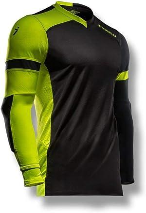 Storelli ExoShield Gladiator Goalkeeper Jersey | Padded Elbow Sleeves | Lightweight Soccer Jersey Shirt | Black | Youth Extra Large