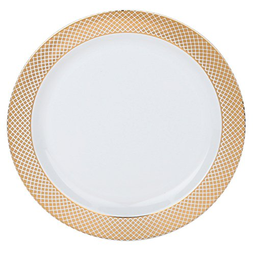 None Rose Round (Kaya Collection - Disposable White with Rose Gold Diamond Rim Plastic Round 7.5