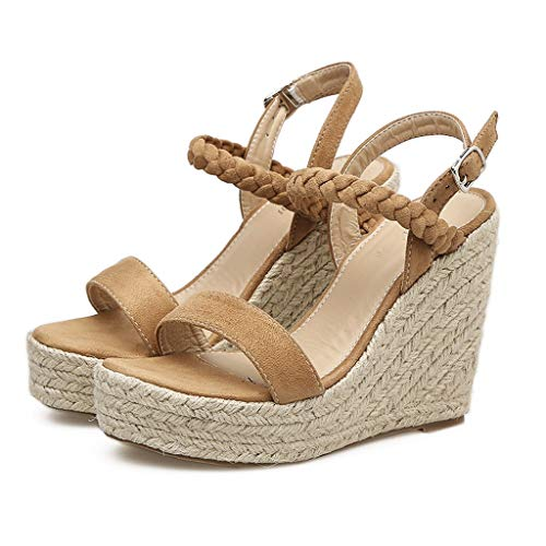 Women Sandals, Shybuy Women's Peep Toe Ankle Strap Buckle Espadrille Wedge Sandals Fashon Summer Sandals Shoes (5, Brown 5) ()