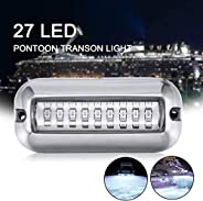 Boat Underwater Led Light, Marine Underwater Boat Transom Light with 27 Led, 50W Stainless Steel Boat Deck Lig