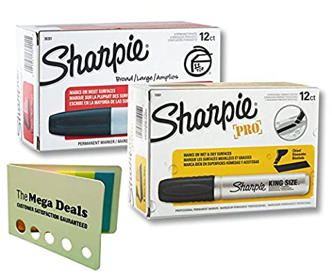 Sharpie Permanent Markers, Chisel Tip, Black, 12-Count and Sharpie Pro King Size Permanent Markers, Chisel Tip, Black, 12-Count Including 5 Color Flag - Fluorescent Pink Poster Board