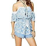 Diamondo Women Beach Dress, Fashion Women Off Shoulder Beach Summer Floral print Mini Dress Sundress (Asian XL)