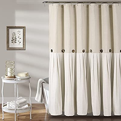 """Lush Decor Button Shower Curtain, 72"""" X 72"""", Linen - Lush Décor Linen Button is the ideal bathroom shower curtain for your shabby chic, modern or farmhouse decor. Two tone shower curtain with pleats and button embellishments to enhance your space. Soft, linen and cotton blend fabric curtain with a simple, minimalist or country style design for your bathroom. - shower-curtains, bathroom-linens, bathroom - 51SidB4Gu5L. SS400  -"""