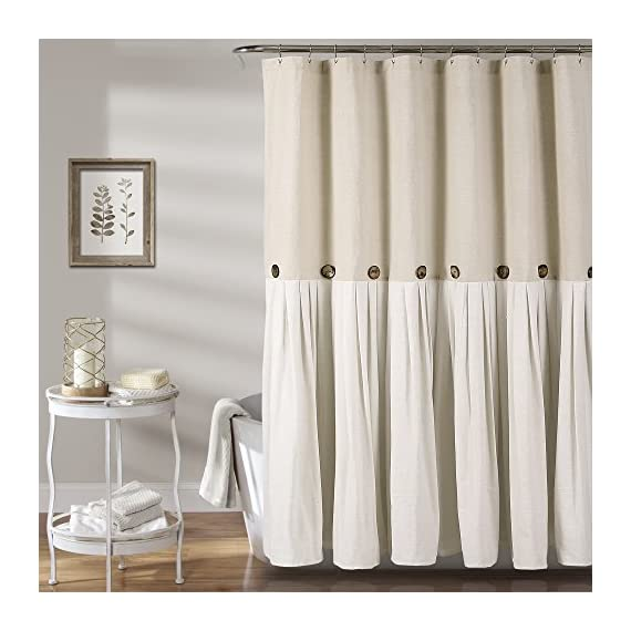 "Lush Decor Button Shower Curtain, 72"" X 72"", Linen - Lush Décor Linen Button is the ideal bathroom shower curtain for your shabby chic, modern or farmhouse decor. Two tone shower curtain with pleats and button embellishments to enhance your space. Soft, linen and cotton blend fabric curtain with a simple, minimalist or country style design for your bathroom. - shower-curtains, bathroom-linens, bathroom - 51SidB4Gu5L. SS570  -"