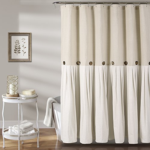 Lush Decor Button Shower Curtain, 72' X 72', Linen