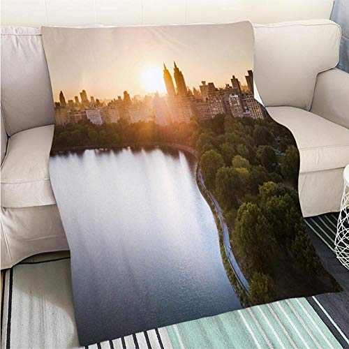 BEICICI Comforter Multicolor Bed or Couch Sunset from Central Park Reservoir in New York Aerial View Fashion Ultra Cozy Flannel Blanket