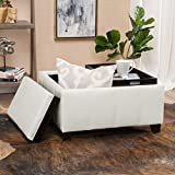 Justin Off-White Leather Tray Top Storage Ottoman