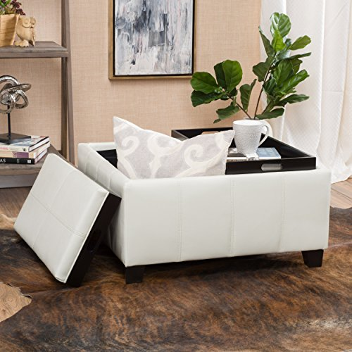 Justin Off-White Leather Tray Top Storage Ottoman by Great Deal Furniture