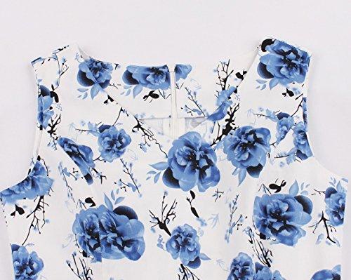 en 1950's Hepburn Vintage Fte Robe Bleu Imprimer Audrey Clair Rockabilly Anne Cocktail Fleur Robes Cygne Soire de 50 Soire Dentelle Femmes Rtro IAEnwq4TI