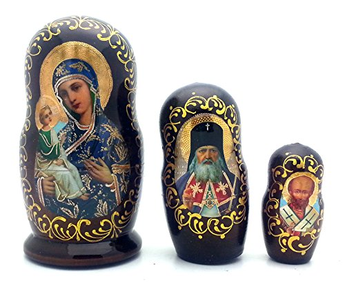 (BuyRussianGifts Icons Nesting Doll Set Made in Russia Wood Religion / Holly Mother)