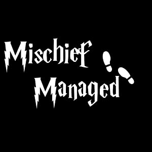 CCI Mischief Managed Harry Potter Decal Vinyl Sticker|Cars Trucks Vans Walls Laptop| White |3.25 x 5.5 in|CCI948