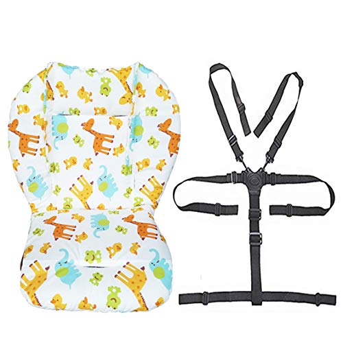 Twoworld Baby Stroller/High Chair Seat Cushion Liner Mat Pad Cover Resistant and High Chair Straps (5 Point Harness) 1 Suit (Animal) (Pad Liner Booster Top)