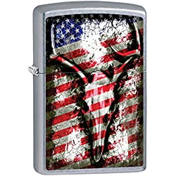 Zippo Lighter: Deer Skull and American Flag - Street Chrome 79572