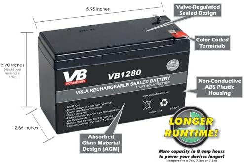 RB1280 12V 8AH UPS Replacement Battery Cartridge by VICI Battery