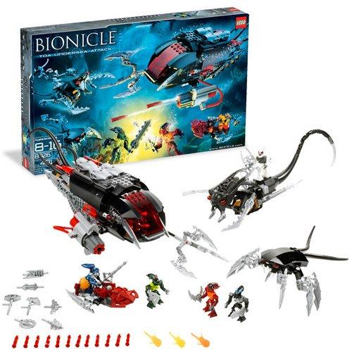 Lego Bionicle 8926 - Toa Undersea Attack with 3 Miniature Toa Mahri Figures. 3 Miniature Barraki Figures, 9 Solidified Air Spheres, 3 Sea Squid, 3 Sea Rahi and Lots More (401 Pieces) (Lego Bionicle Barraki)