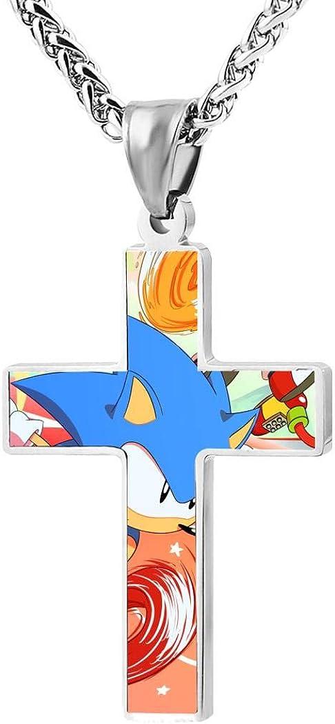 Addsomeing So-nic Ga-me Jewelry Cross Pendant Necklace Zinc Alloy Unisex Faith Pendant Gift for Men Women