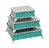 Deco 79 23982 Metal & Mosaic Cake Stand Set of 3