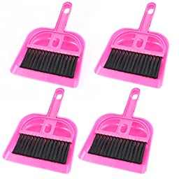uxcell Keyboard Air Outlet Vent Cleaning Brush Dustpan 4 Sets Fuchsia