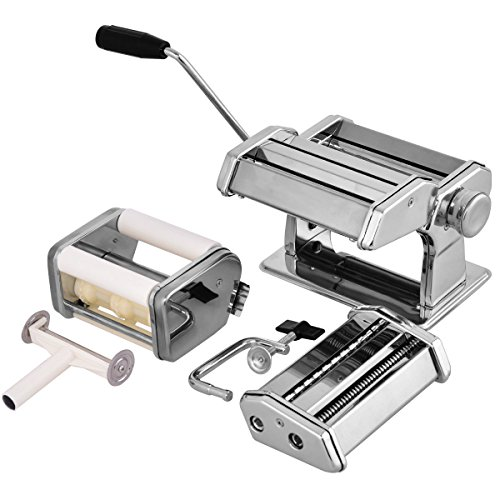 Costzon Pasta Maker Machine, 5 in 1 Heavy Duty Stainless Steel Construction, 7 Adjustable Thickness Setting, 150 Roller with Pasta Cutter,Spaghetti Maker with Hand Crank, Clamp 1 Hand Crank