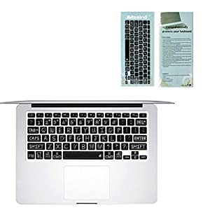 "Masino Silicone Keyboard Cover Ultra Thin Keyboard Skin for MacBook Air 13"" MacBook Pro with or without Retina Display 13""15"" 17"" Apple Wireless Bluetooth Keyboard MC184LL/B (Shadow-Black)"