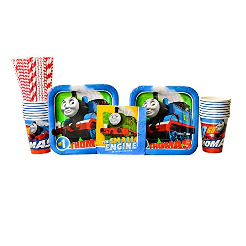 Thomas All Aboard Train Party Supplies Pack for 16 Guests | 24 Paper Straws, 16 Dessert Plates, 16 Beverage Napkins, and 16 Cups | Train Decorations for The Perfect Train Birthday Party