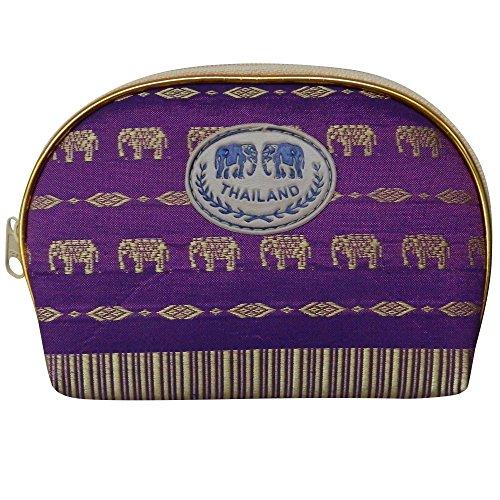 - Thai Made Purple Elephant Pattern Cosmetics Bag