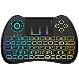 Image of (Upgraded Version) Aerb 2.4GHz Colorful Backlit Mini Wireless Keyboard with Mouse Touchpad Rechargeable Combos for PC, Pad, Google Android TV Box and More