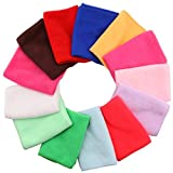 DriewWedding 13pcs Quick Dry Microfiber Cleaning Towels Cloth, 9.8''x9.8'' Soft Household Face Towels Washcloths for Kitchen, Home, Car, Sports, Running