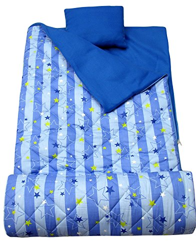 SoHo Kids Blue Stars Stripe Children Sleeping Slumber Bag with Pillow and Carrying case Lightweight Foldable for Sleep ()