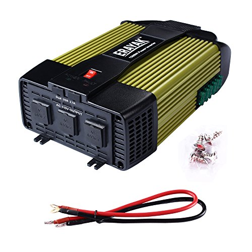 Erayak 1000W Power Inverter 3 Ac Outlets Dual Usb Charging Ports 2 1A W  Dc12v Cigarette Lighter Socket   Car Battery Clip Cable  For Laptops Refrigerator Tv Lamp Saw Drill Fan Game Console 8130U