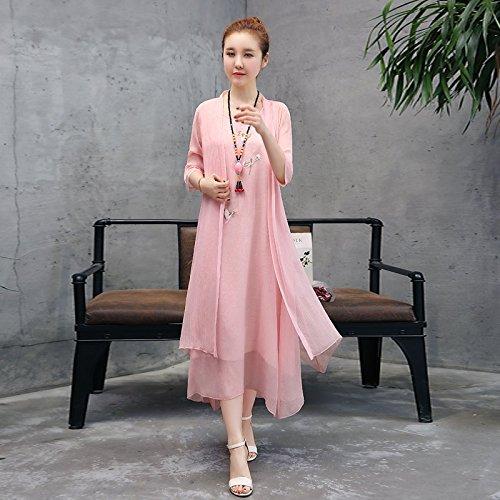 Costume en Longue Robe Grande Deux de Robe Moyenne L MiGMV brod National pices Pink Jupe Wind Ensemble Coton F4zRq