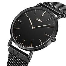 Mens Women Unisex Quartz Analog Watch Waterproof Business Luxury Fashion Simple Design Wristwatch Magnetic Band (black)