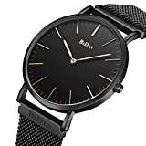 Mens Women Unisex Quartz Analog Watch Waterproof Business Luxury Fashion Simple Design Wristwatch Magnetic Band(black)