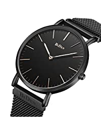 Mens Women Unisex Quartz Analog Watch Waterproof Business Luxury Fashion Simple Design Wristwatch Magnetic Band (black)