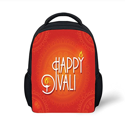 iPrint Kids School Backpack Diwali Decor,Happy Diwali Wish Festive Celebration Candles Fires Paisley Backdrop Print,Red and White Plain Bookbag Travel Daypack by iPrint