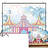 Funnytree 7x5ft Pink Circus Tents Theme Party Backdrop Carnival Carousel Photography Background Girl Princess Birthday Newborn Baby Shower Decorations Photo Booth Cake Table Banner