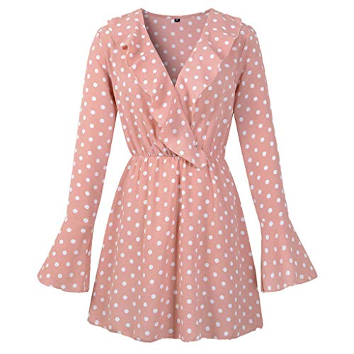 V Neck Dots Print Dress, QIQIU Womens 2019 Sexy Party Mini Fashion Long Sleeve Dresses -