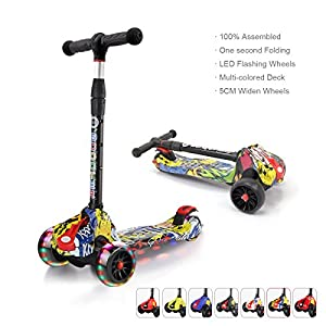 XJD Kick Scooters for Kids Ages 3 to 8 Years Old Lean to Steer, 3 Wheel, 4 Adjustable height, 5cm LED Flashing Big Wheels, Folding Handlebar, 100% assembled(Hip-pop)