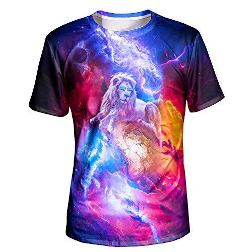 Asylvain Unisex 3D Galaxy Shirts with Lion Design Print Short Sleeve Tee for Teens, ()