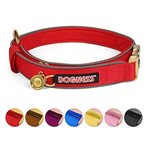 Metal Nylon Collar (DOGNESS Classic No Choke Dog Collar, with Durable Patented Gold Plated Metal Buckle, Soft Comfy Padded Reflective Nylon, Adjustable for Small Medium Large Dogs, Matching Leash Harness Sold Separately)