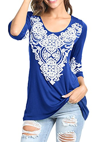 EMVANV Women's 3/4 Sleeve Boho Tunic Shirts Heart Printed Tops Shirts (XX-Large, Blue)