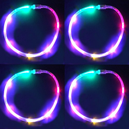 GlowCity LED Glow Necklaces - Fun Multicolor Light Up Jewelry with Flash and Color Chase - for Glow-in-The-Dark Kids Party Supplies and Raves - 4 Pack