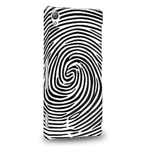 Case88 Premium Designs Art Black And White Finger Print Maze Carcasa/Funda dura para el Sony Xperia Z3 (No Z3v ni Compact versión !)